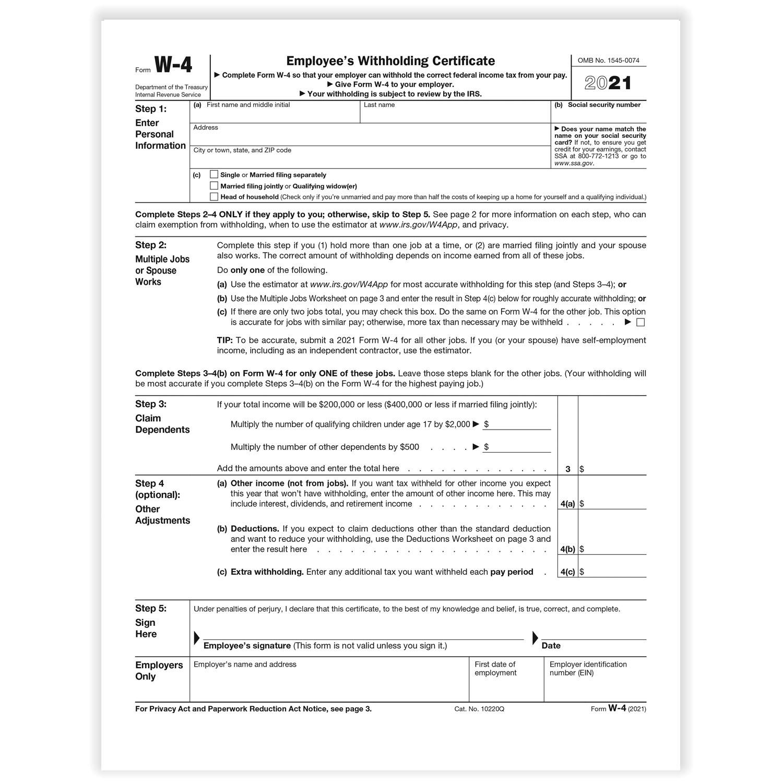 W-4 Forms inside 2021 W-4 Form Printable