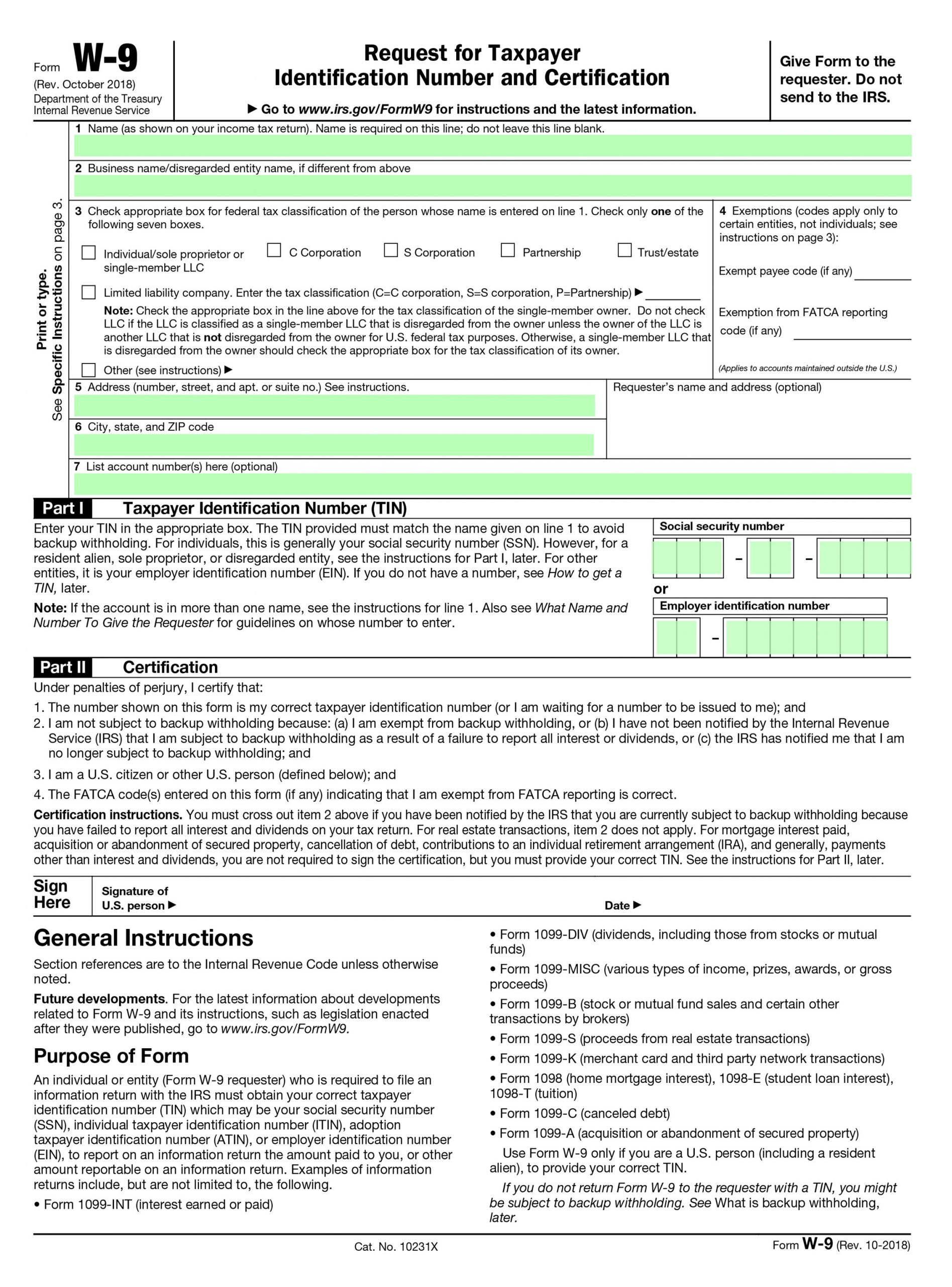 W-9 Form Fillable 2020 | W9 Form Printable regarding Blank W 9 Form To Print