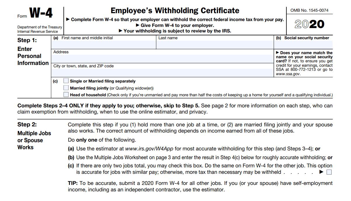 W4 Form 2020 - W-4 Forms inside W-9 Form 2021 Printable