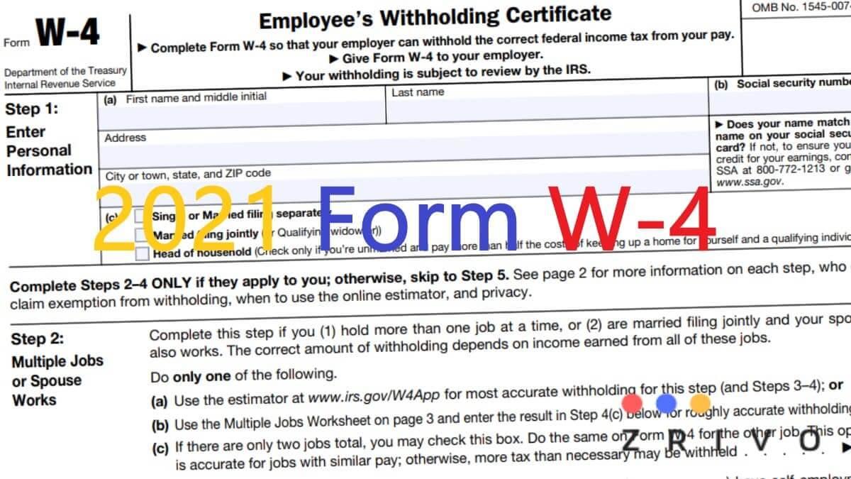 W4 Form 2021 - W-4 Forms - Zrivo regarding Blank W-9 Form 2021 Printable