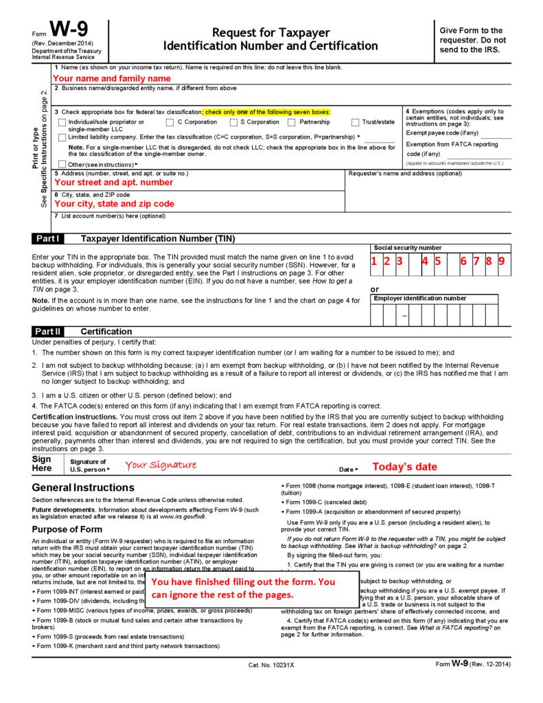 W8 / W9 Forms | Philip Stein & Assoc. regarding W-9 Forms To Print