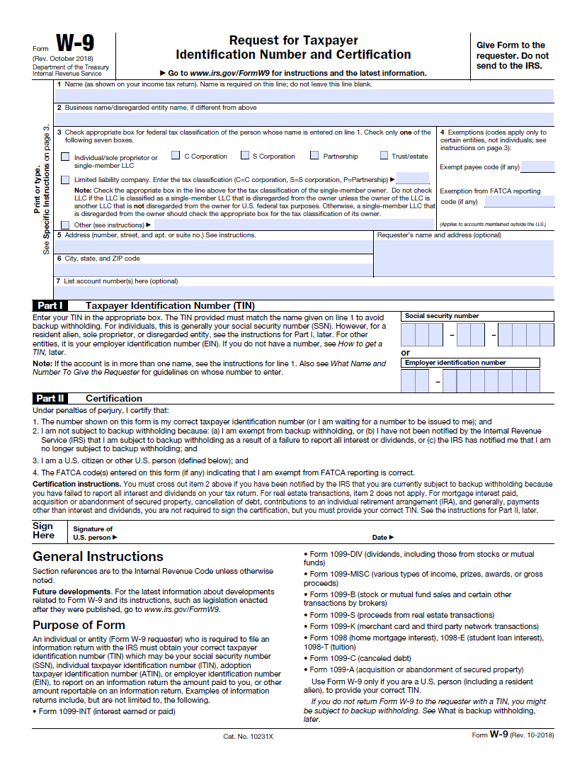 W9 Form 2021 Printable, Blank with regard to W 9 Form Pdf Fillable