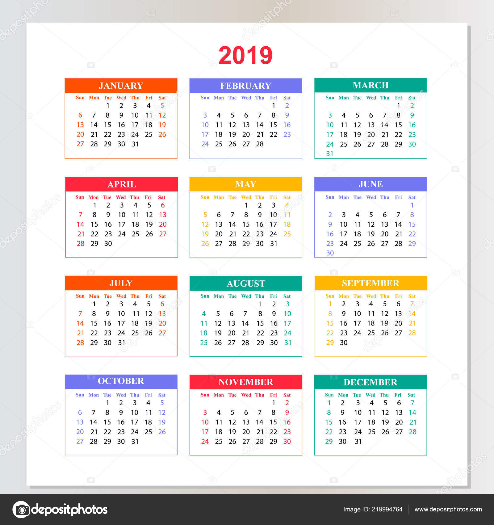 Wall Calendar For 2019 Year From Sunday To Saturday 219994764 with Sunday To Saturday Calendar