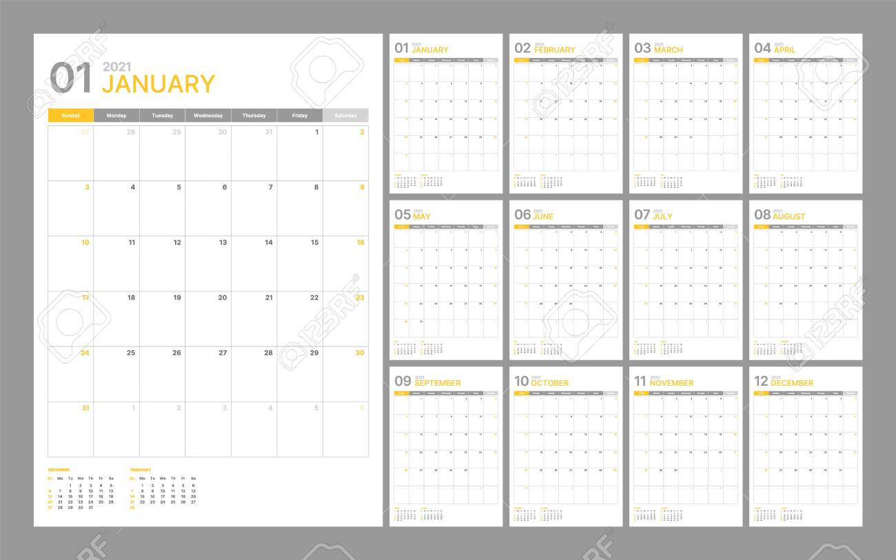 Wall Calendar Template For 2021 Year. Planner Diary In A Minimalist.. with Diary 2021: Weekly And Monthly Year
