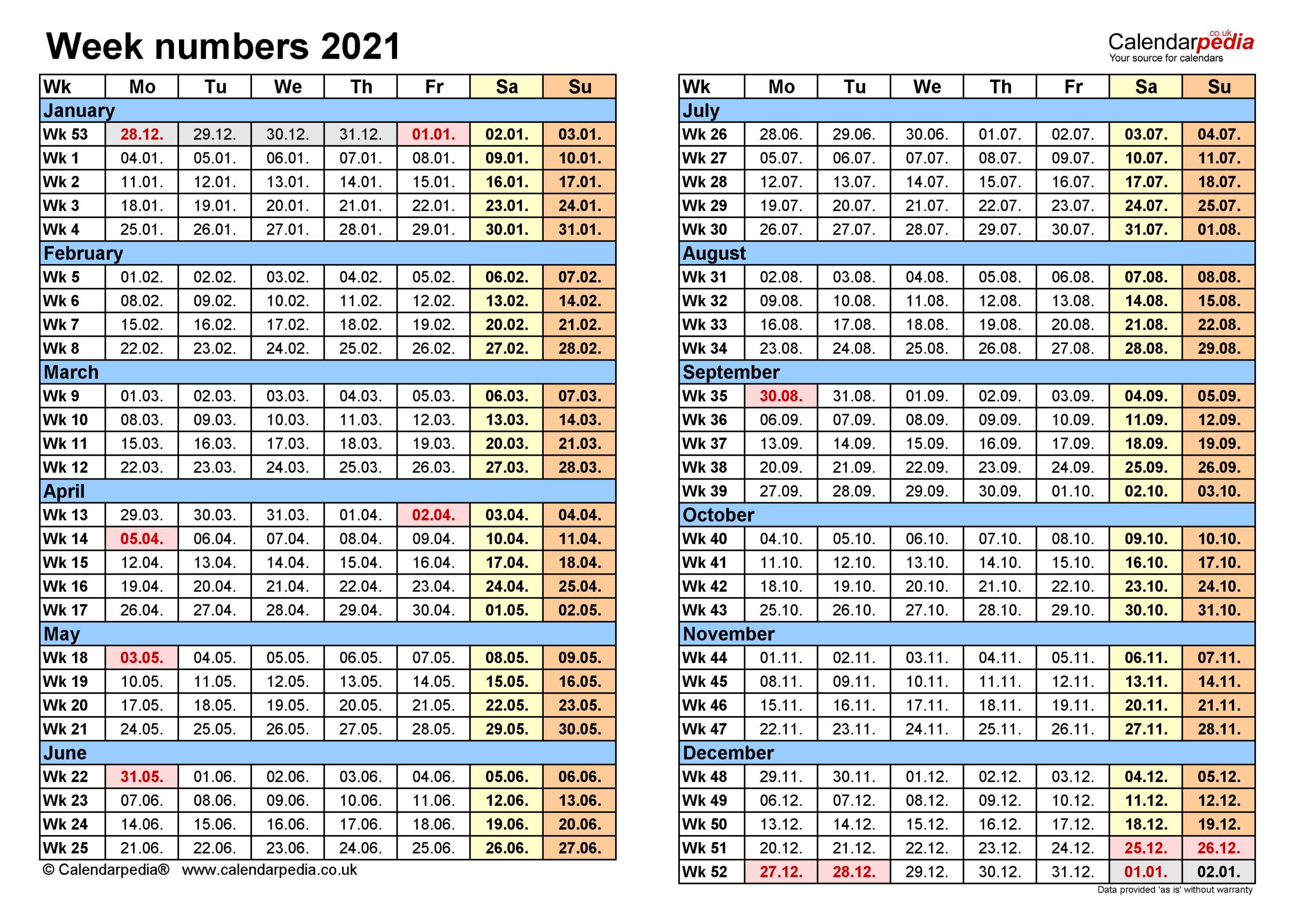 Week Numbers 2021 With Excel, Word And Pdf Templates regarding Monthly Calendar By Week Number 2021