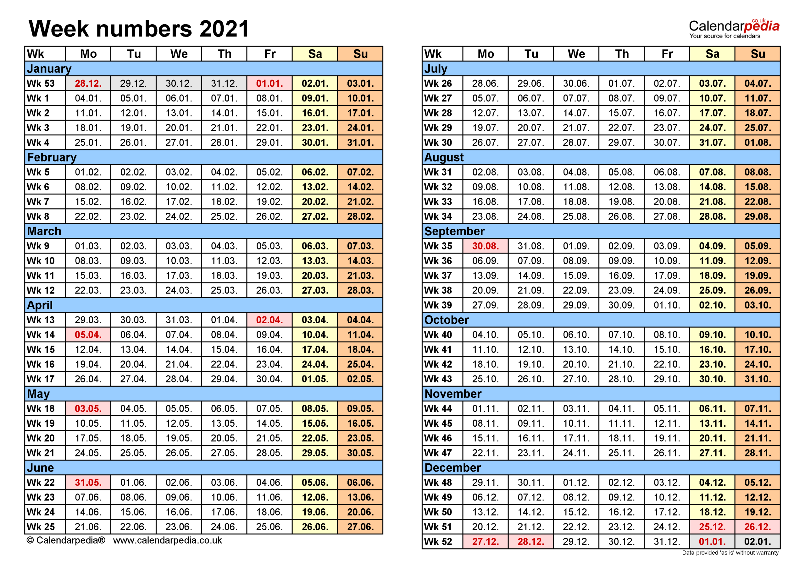 Week Numbers 2021 With Excel, Word And Pdf Templates with Weekly Planner For 2021- 52 Weeks