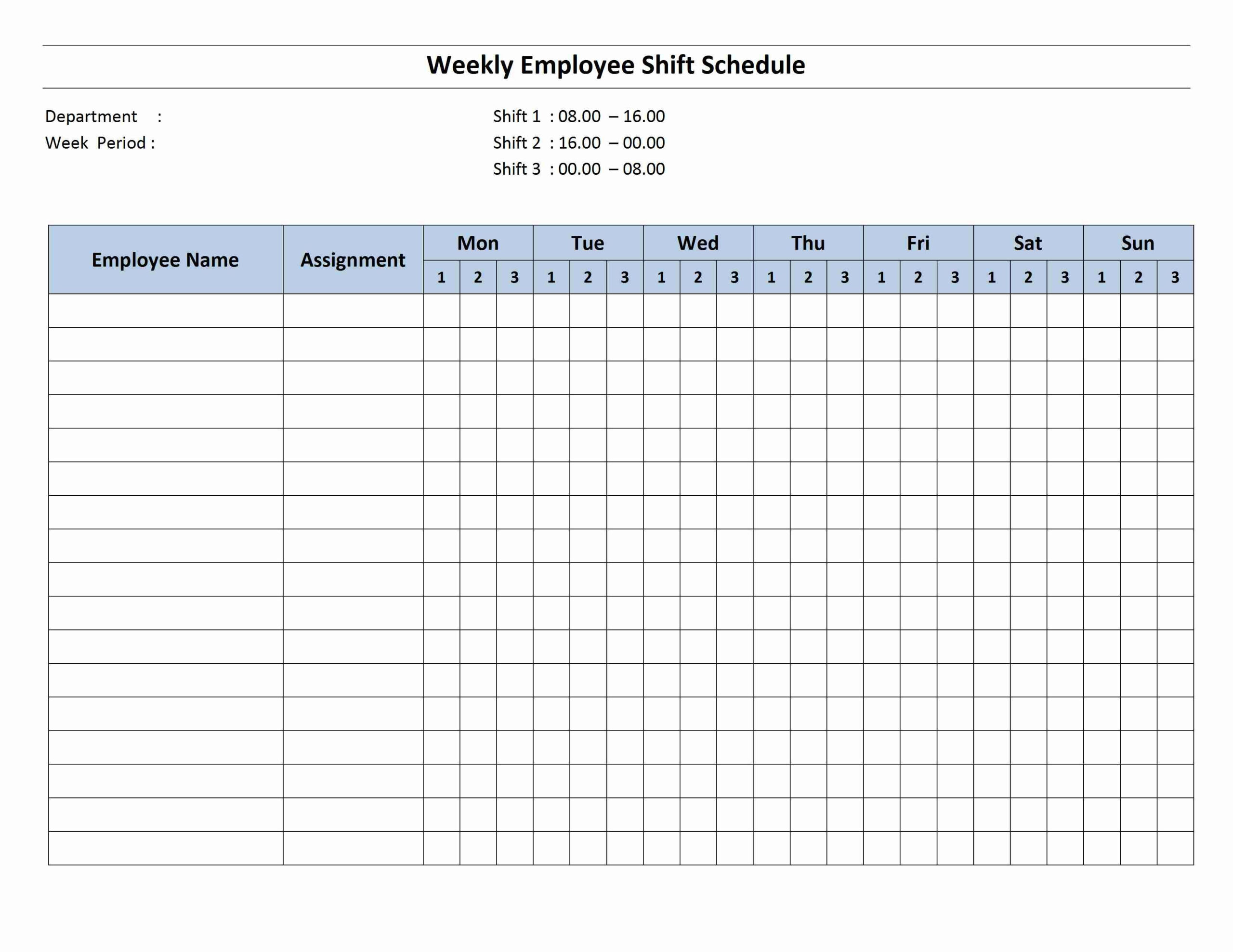 Weekly 8 Hour Shift Schedule | Cleaning Schedule Templates in Shift Yearly Plan