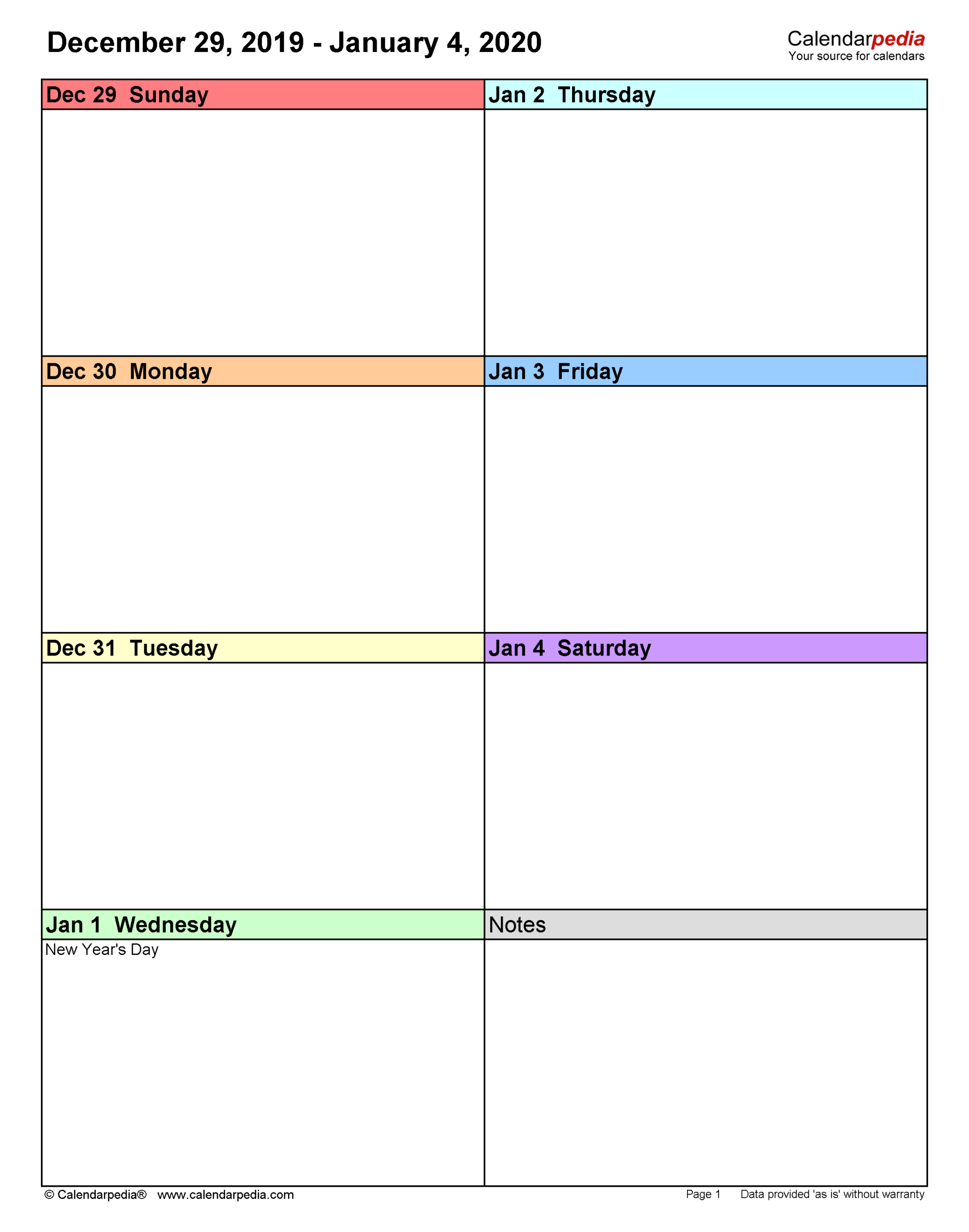 Weekly Calendars 2020 For Word - 12 Free Printable Templates in Calendar November December January Space To Write At The Side