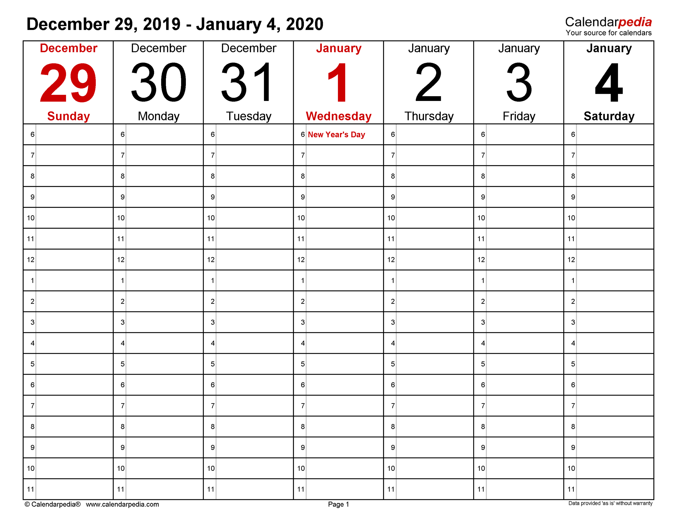 Weekly Calendars 2020 For Word - 12 Free Printable Templates with Calendar November December January Space To Write At The Side