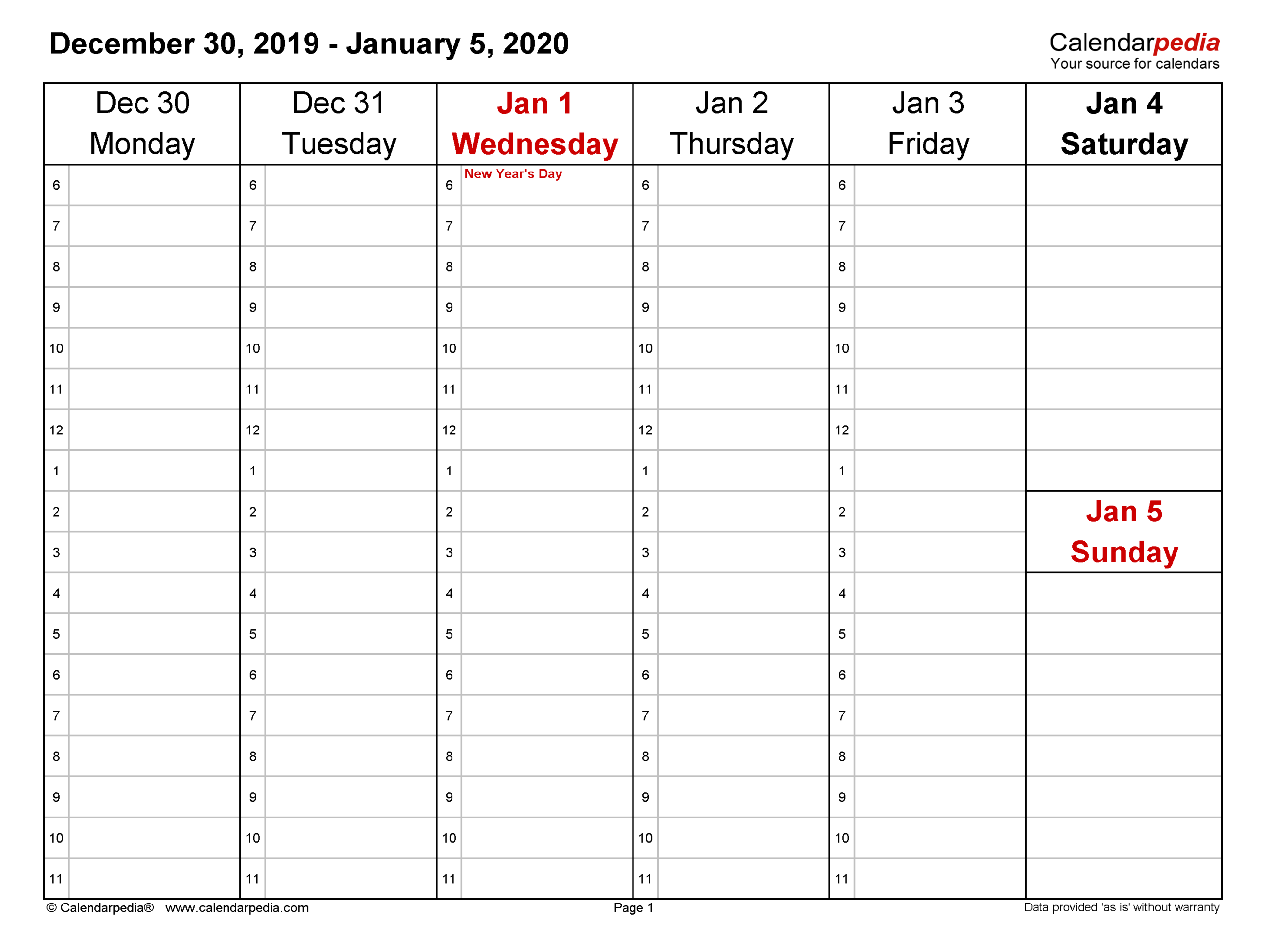 Weekly Calendars 2020 For Word - 12 Free Printable Templates with regard to Calendar November December January Space To Write At The Side