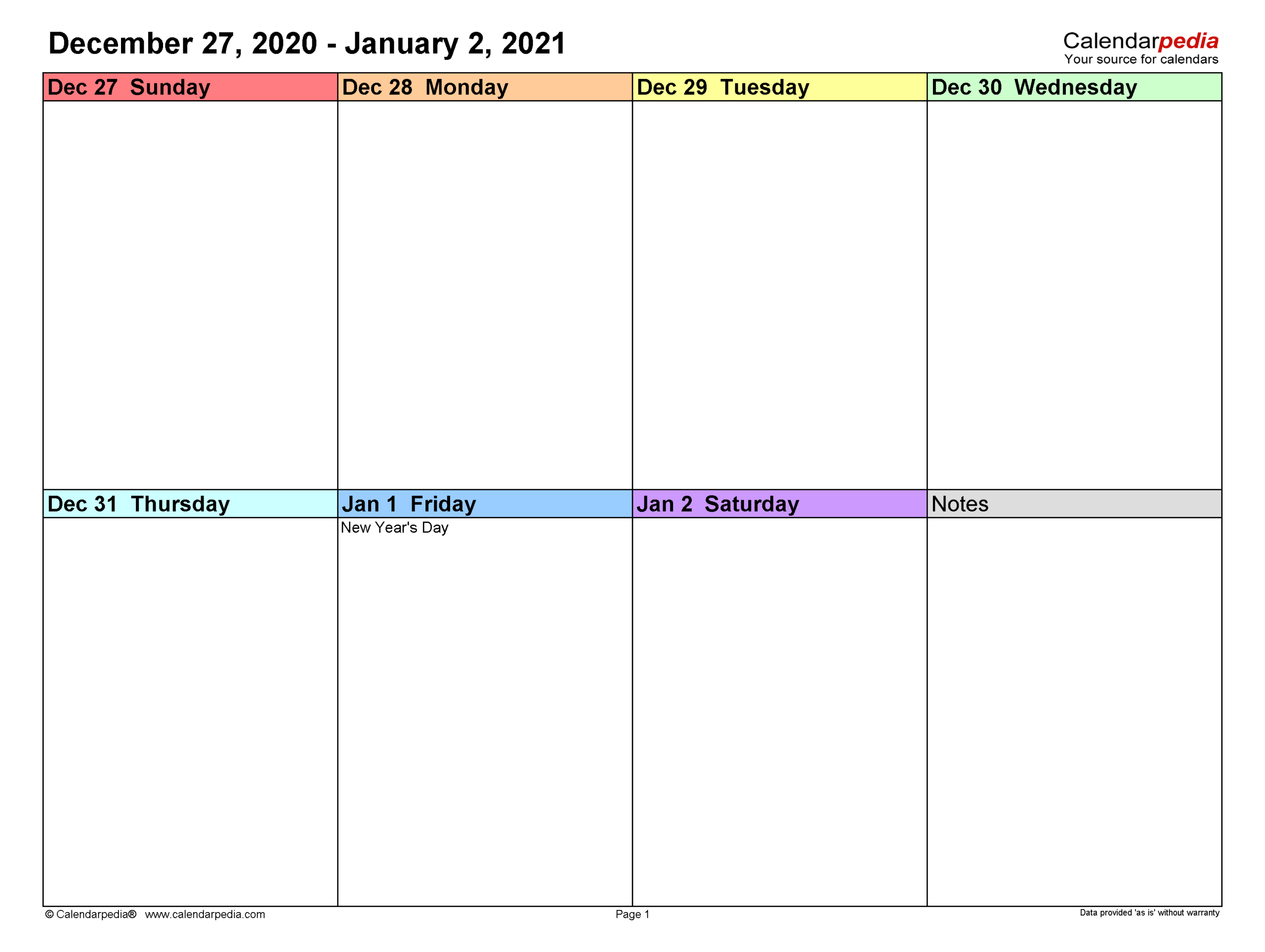 Weekly Calendars 2021 For Pdf - 12 Free Printable Templates with regard to Calendar November December January Space To Write At The Side
