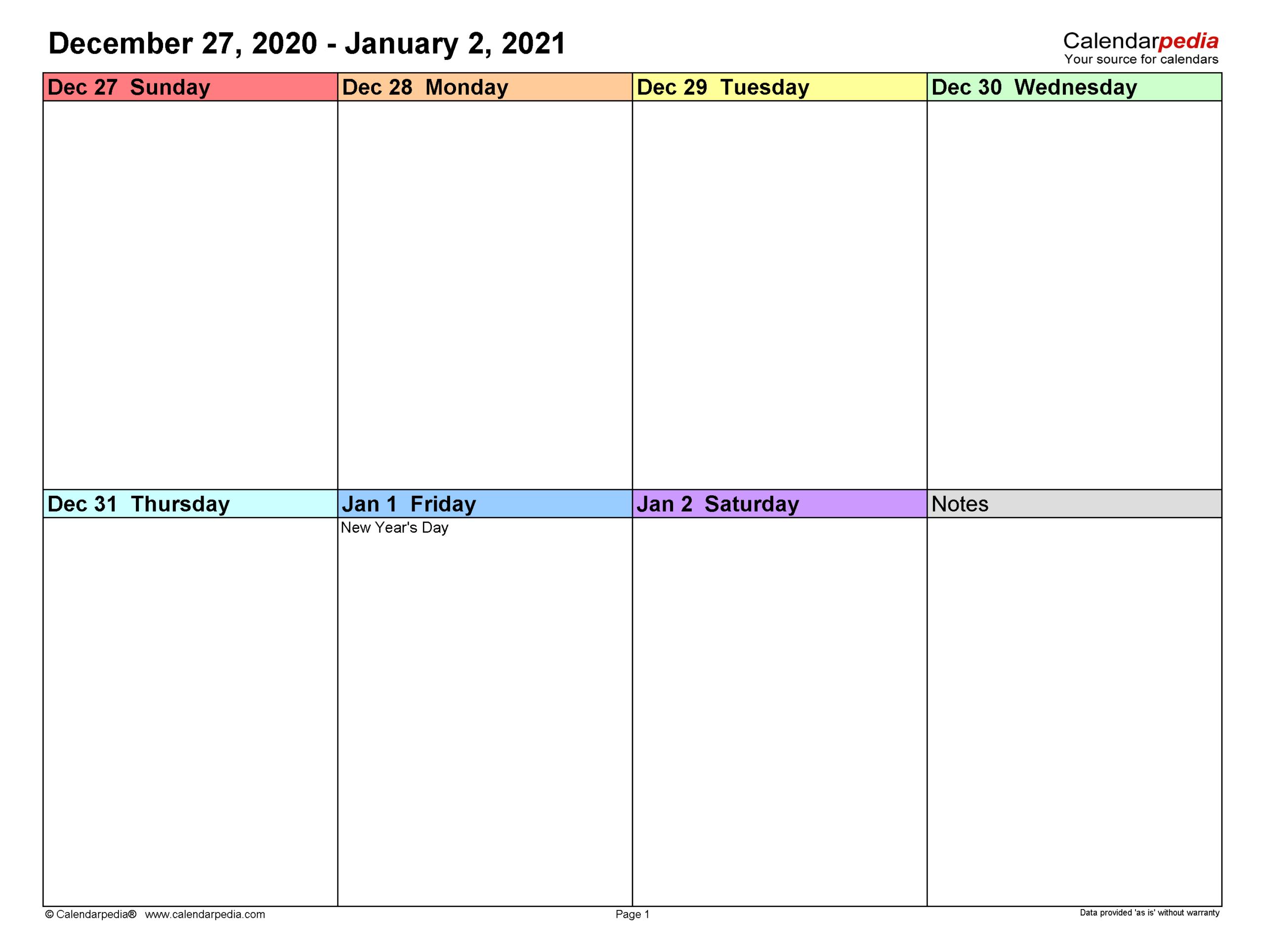 Weekly Calendars 2021 For Word - 12 Free Printable Templates within 2021 Planner: Weekly Calendar Planner