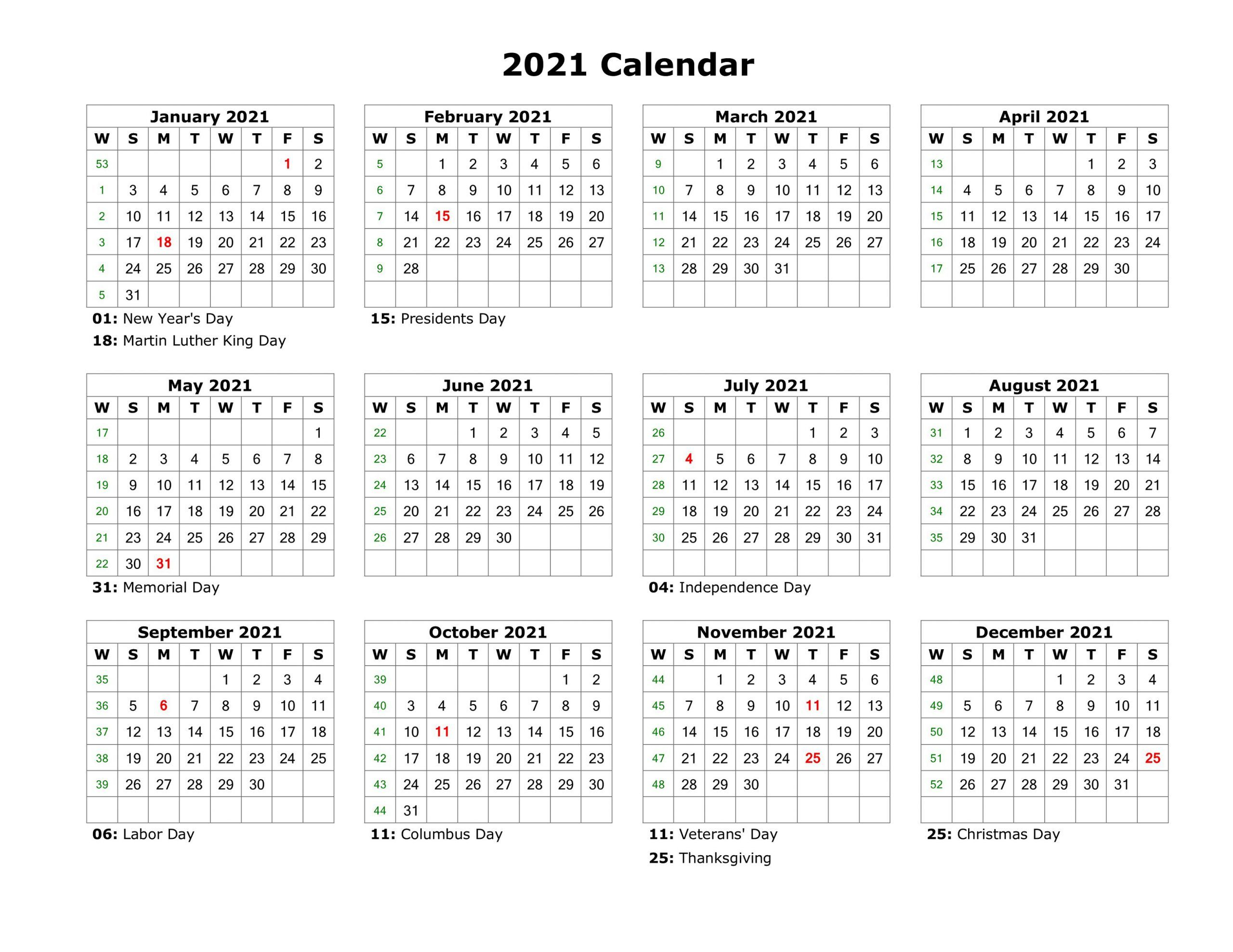 Year At A Glance Calendar 2021 Printable Free For Year At A for 2021 Printable Calendar With Boxes Yearly