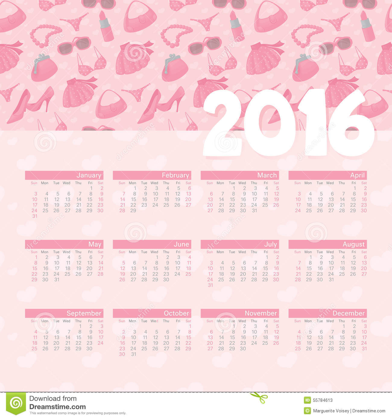 Year Calendar Girly Stock Illustration. Illustration Of with regard to Girly Calewnder Of The Year