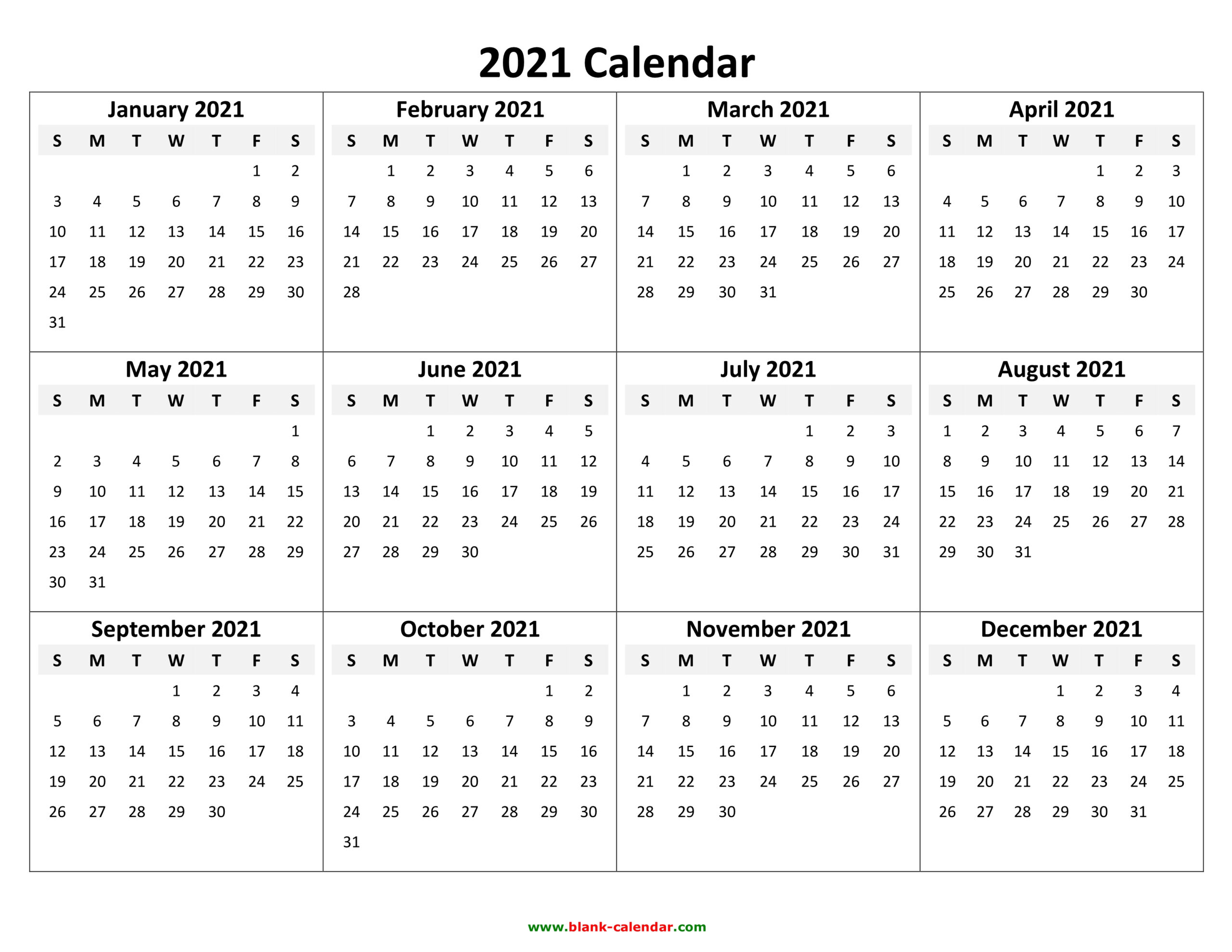 Yearly Calendar 2021 | Free Download And Print inside 2021 Printable Calendar With Boxes Yearly