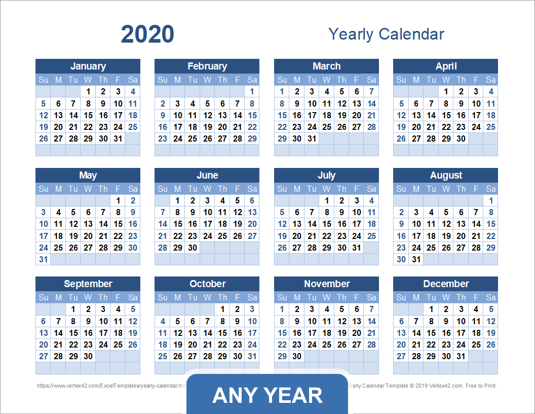 Yearly Calendar Template For 2020 And Beyond for Calendario Fiscal 4-4-5