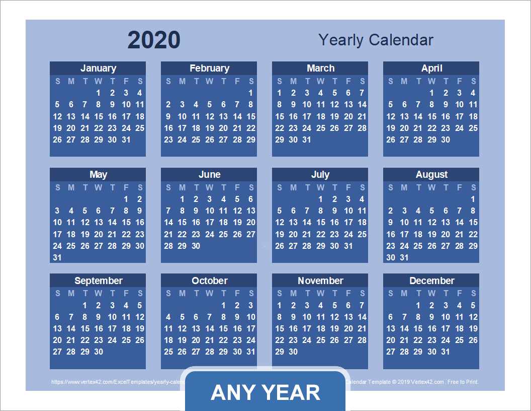 Yearly Calendar Template For 2020 And Beyond for Large Bold Printable Calendar