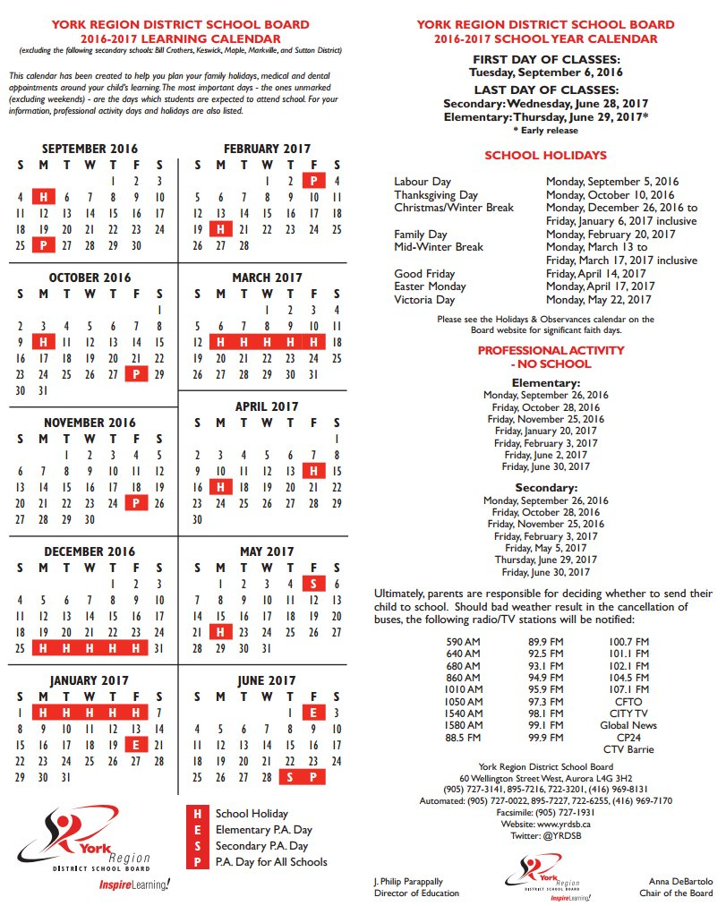"""York Region Dsb On Twitter: """"Looking For The 2016-2017 within Yrdsb School Calender"""