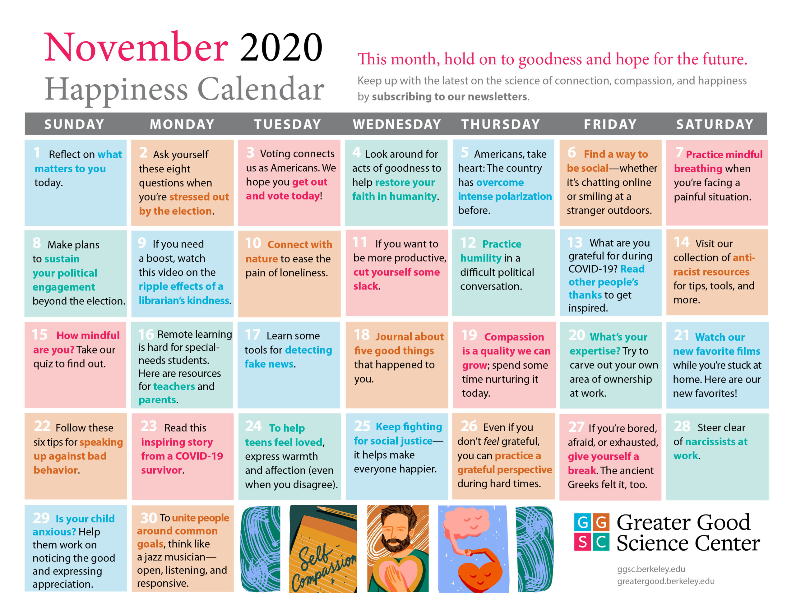 Your Happiness Calendar For November 2020 with regard to Bring Up A Calendar For October