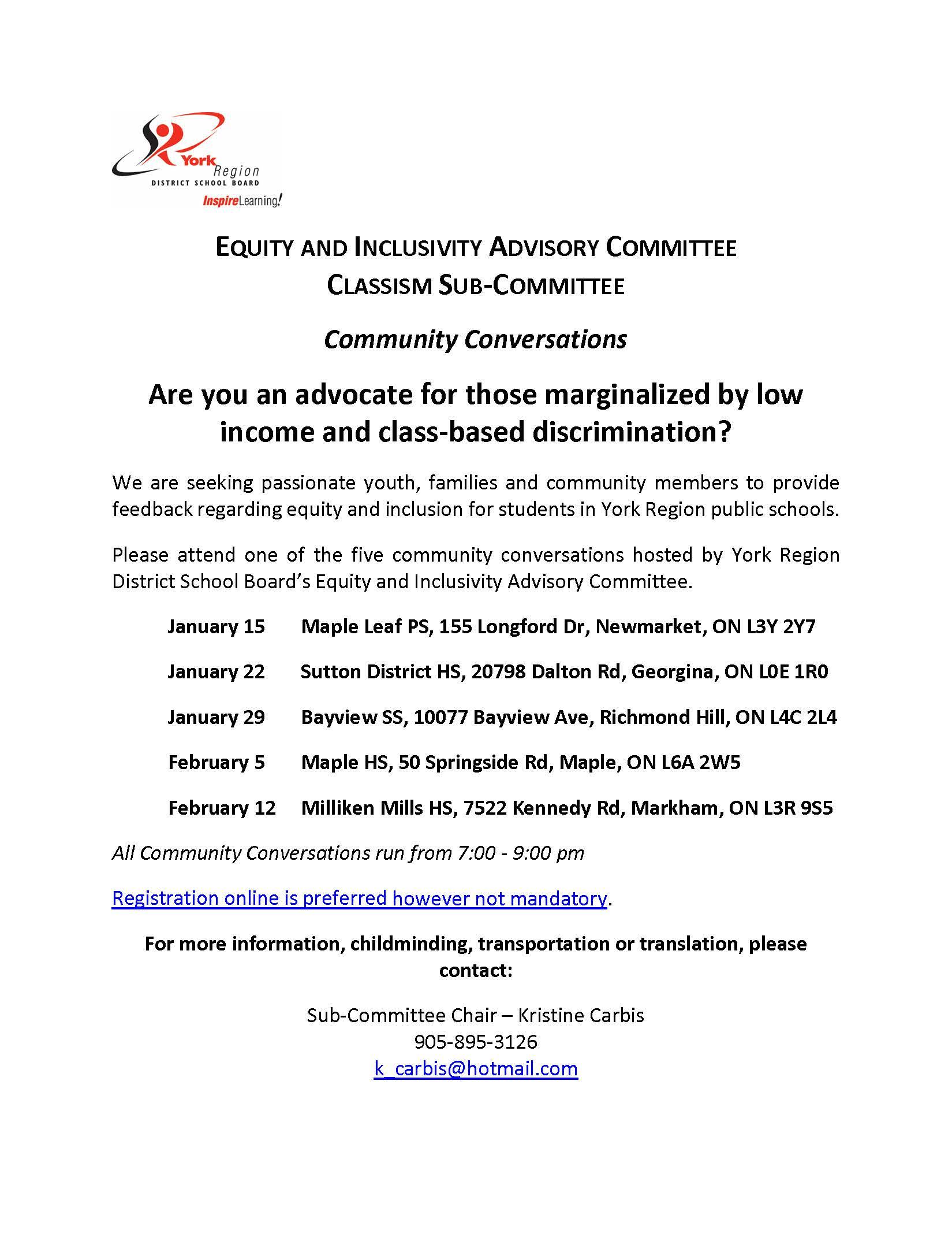 Yrdsb Equity & Inclusivity Community Conversation Invite throughout Yrdsb School Calender