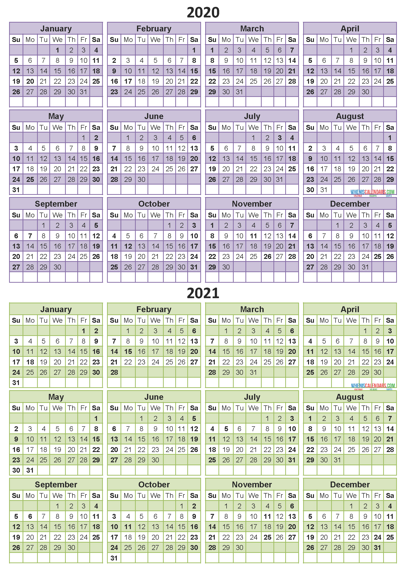 10 Year Calendar From 2021 - Calendar Template 2021 intended for 2021-2021 Two Year Planner: Neat 2-Year