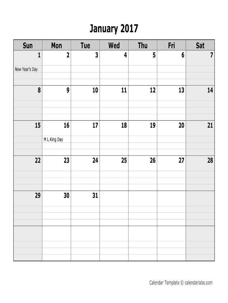 2017 Monthly Calendar - Calendarlabs. 2017 Monthly Calendar - Calendarlabs 2020 - Fill throughout Calendar To Fill Online