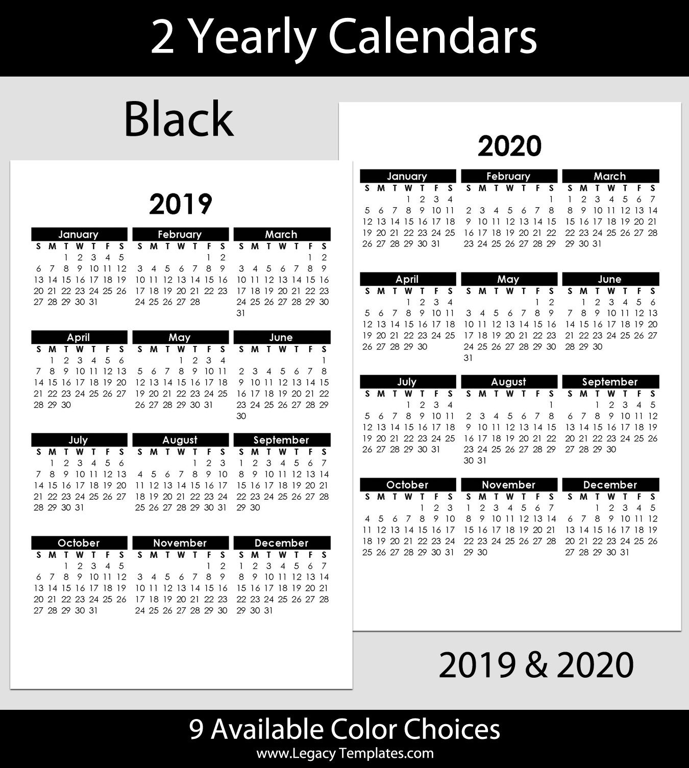 2019 & 2020 Yearly Calendar - 5.5 X 8.5 | Legacy Templates in 2021-2021 Two Year Planner: 2-Year