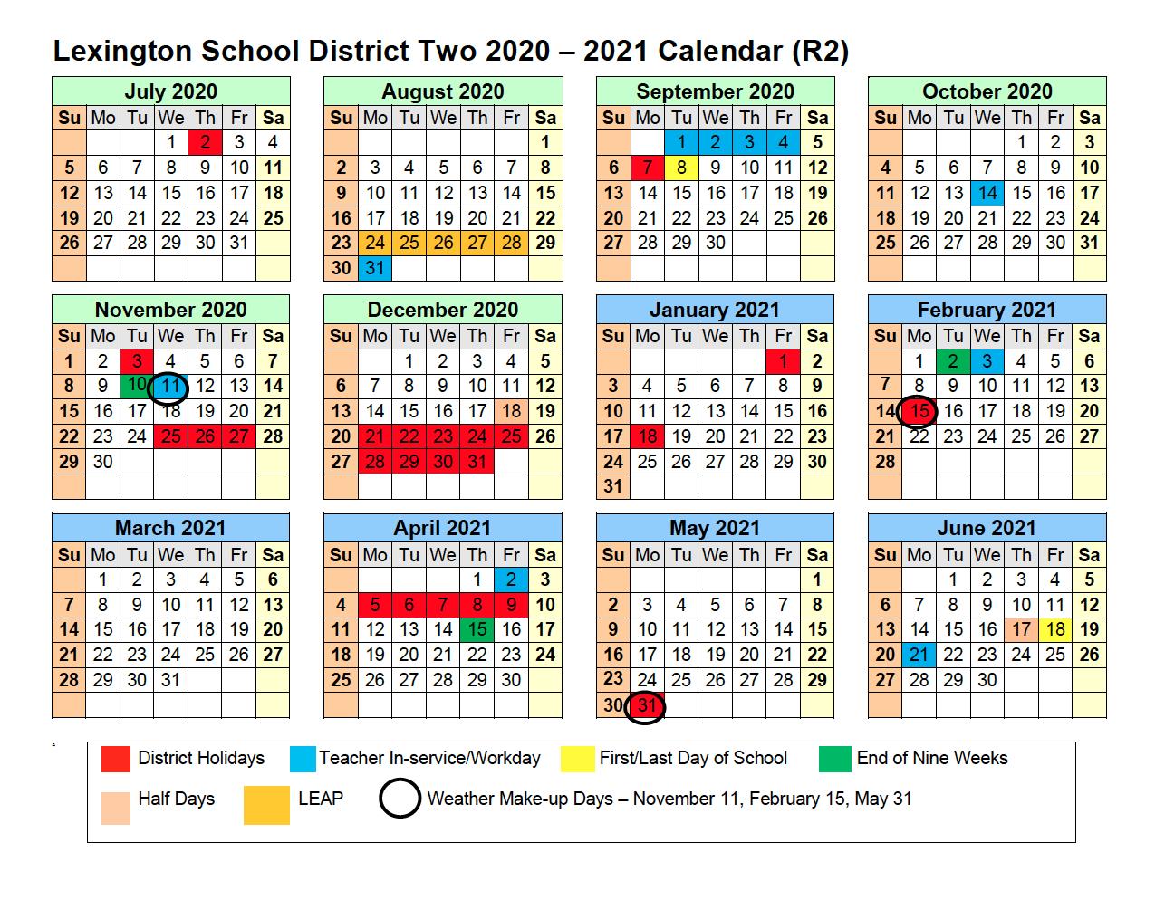 2020 - 2021 Calendar - Calendar - Lexington School with Sfa 2021 Calendar