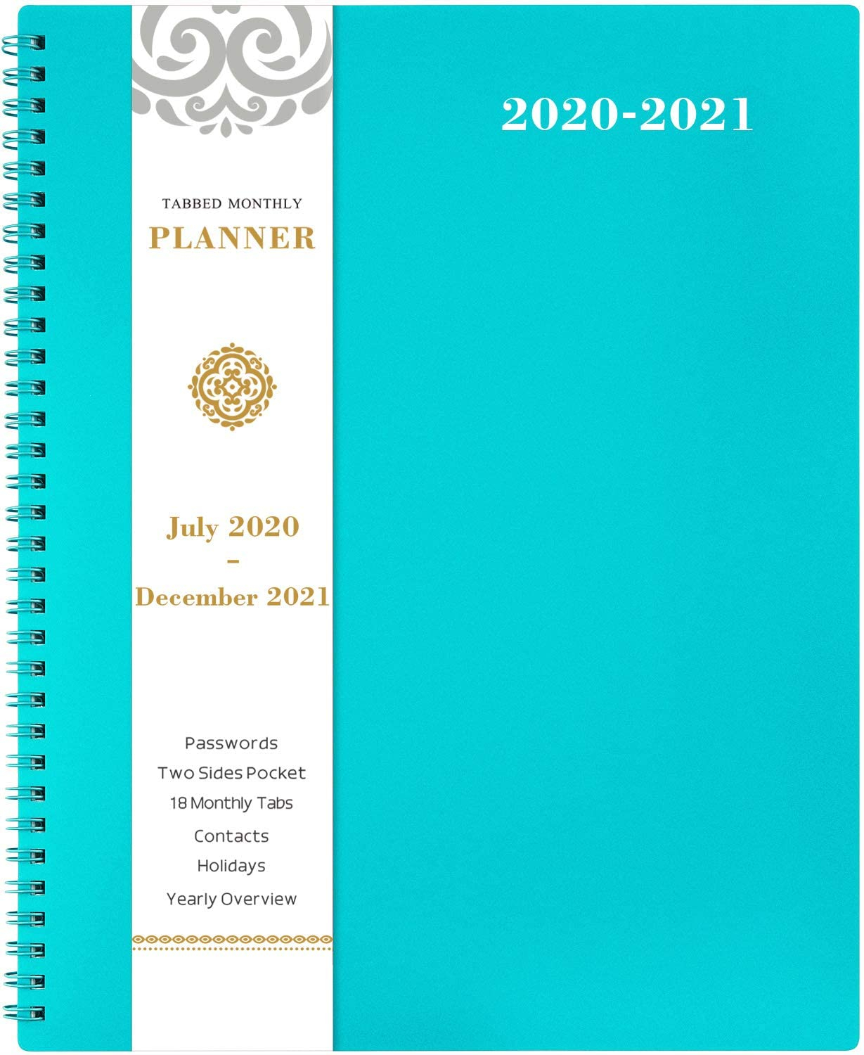 2020-2021 Monthly Planner - 18-Month Planner With Tabs throughout Monthly Planner 2021 With Pockets