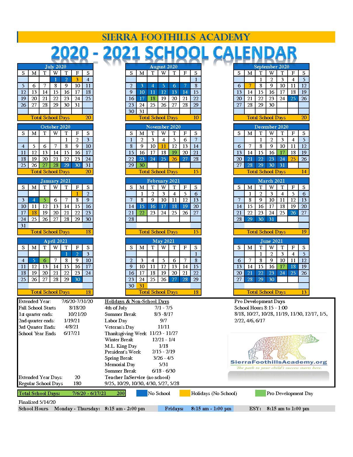 2020-2021 School Calendar - Sierra Foothills Academy with regard to Sfa 2021 Calendar