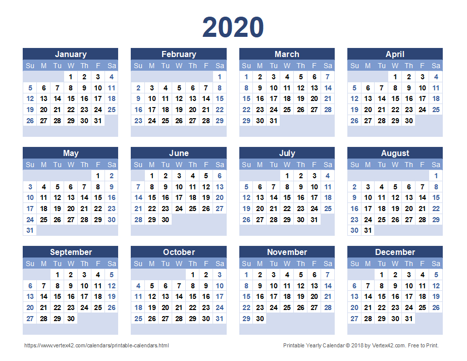 2020 Calendar Templates And Images with All Year Calendar