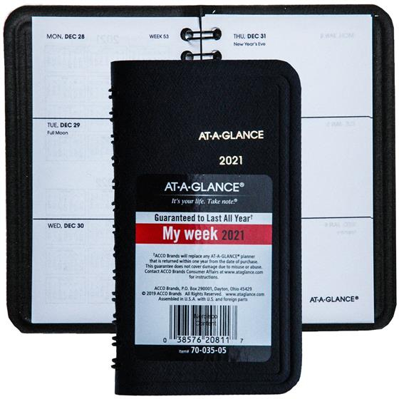 2021 At-A-Glance 70-035, 70-035-05, Weekly Pocket Planner with Monthly Planner 2021 With Pockets