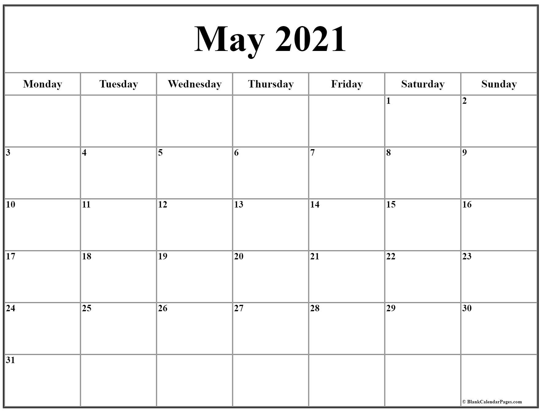 2021 Calendar Monday To Sunday intended for Calendar 2021 Monday Through Sunday