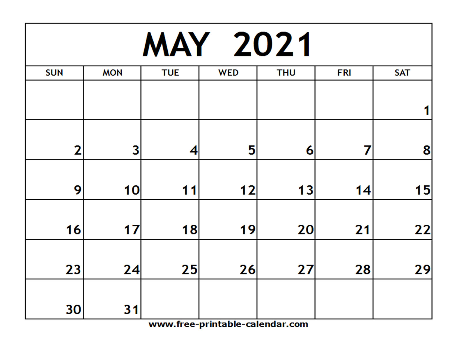 2021 Calendar Printable Pdf May | Free Printable Calendar inside Blank 2021 Calendar Printable Free