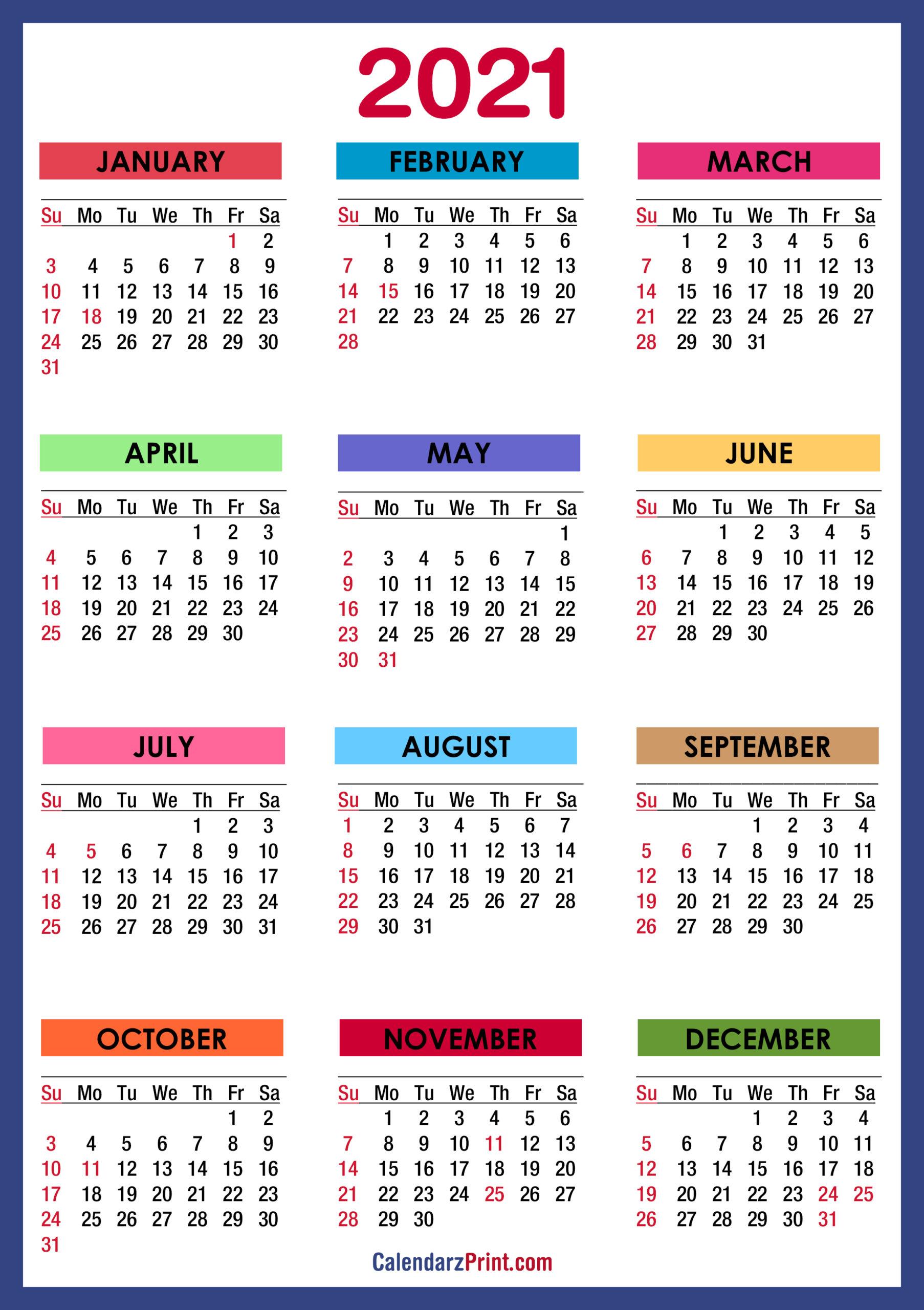 2021 Calendar Printable Pdf With Holidays | 2021 Printable with Printable Calendars 2021 Sunday To Saturday
