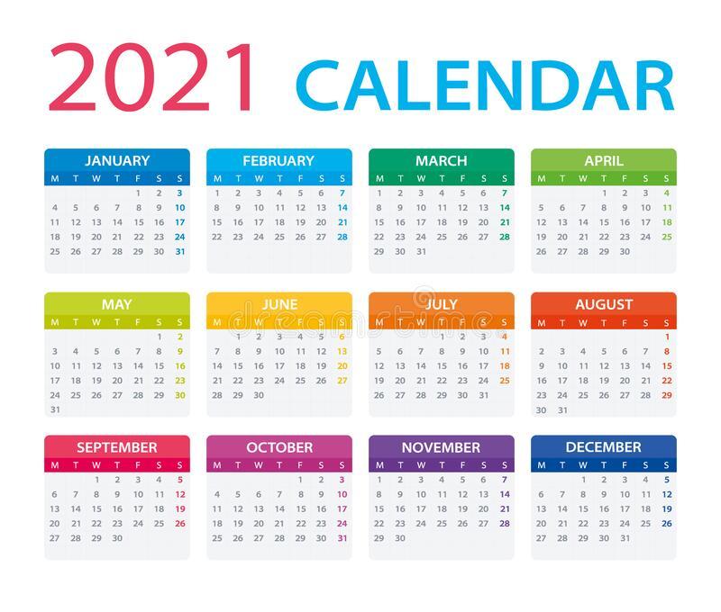 2021 Calendar - Vector Illustration,Monday To Sunday Stock within Calendar 2021 Monday Through Sunday