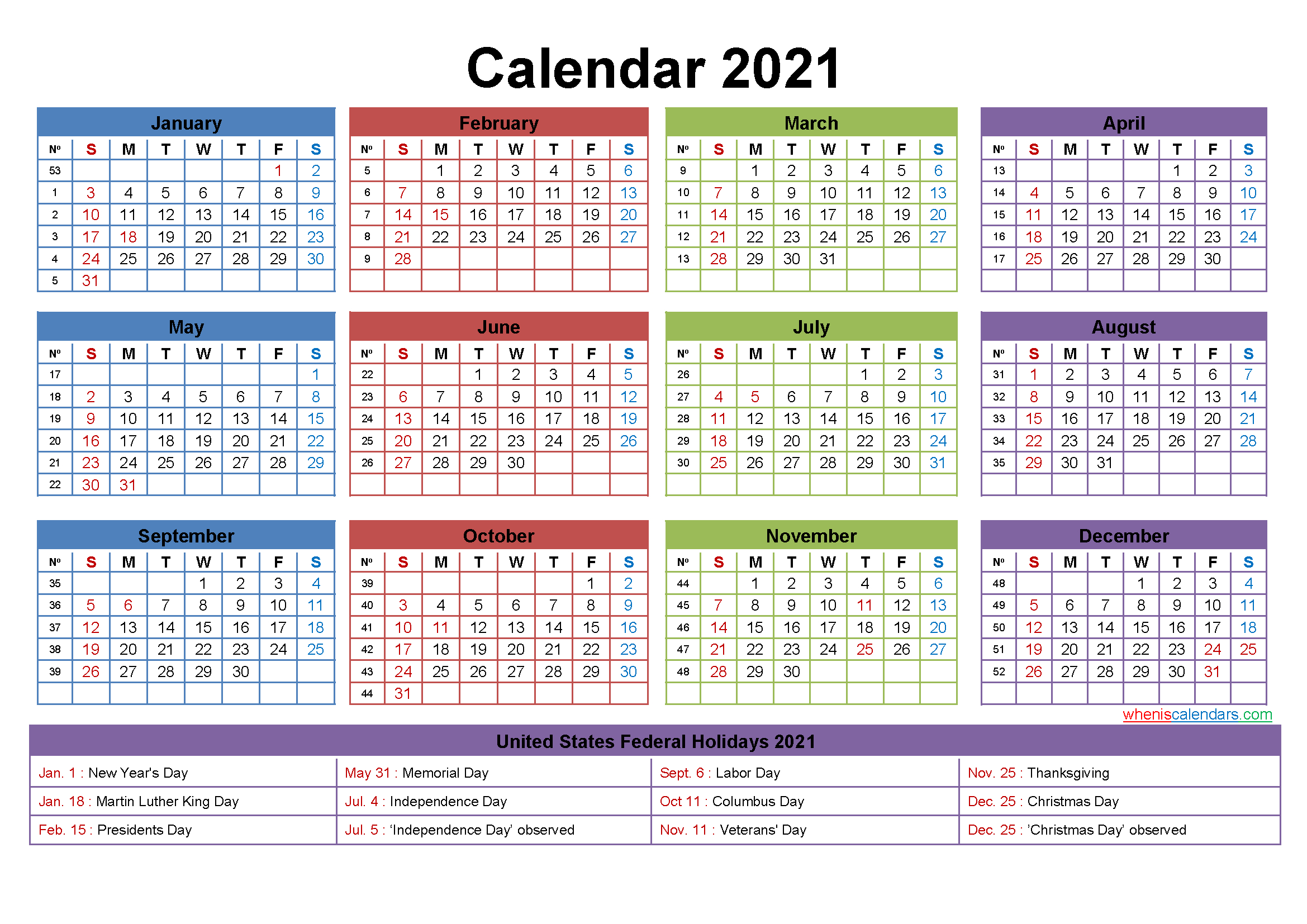 2021 Calendar With Holidays Printable Word, Pdf throughout Free Fillable Calendar 2021