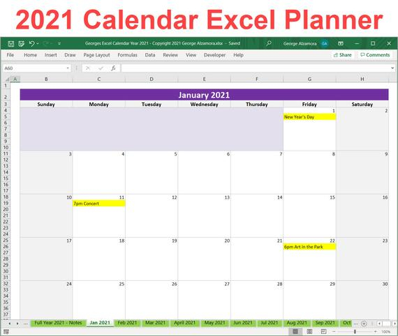 2021 Calendar Year Printable Planner Excel Template 2021 within 2021 2021 Monthly Planner: 2 Year