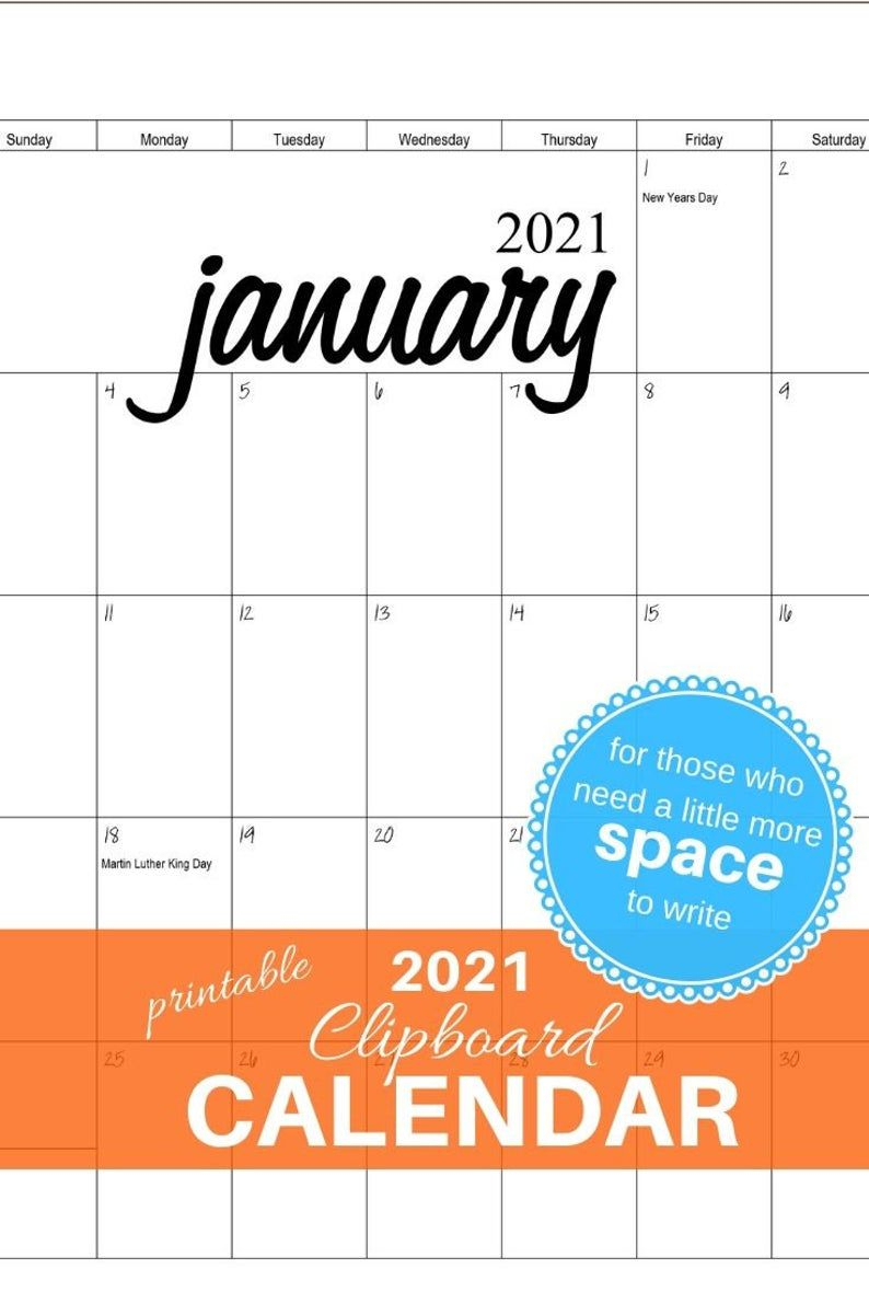 2021 Clipboard Calendar Printable Pdf File | Etsy In 2020 with regard to Waterproof Calendars Printable 2021