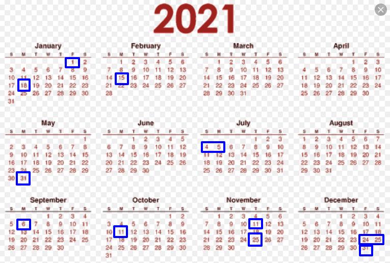 2021 Federal Holiday Calendar - List Of United States Federal Holidays pertaining to Federal Government Calendar