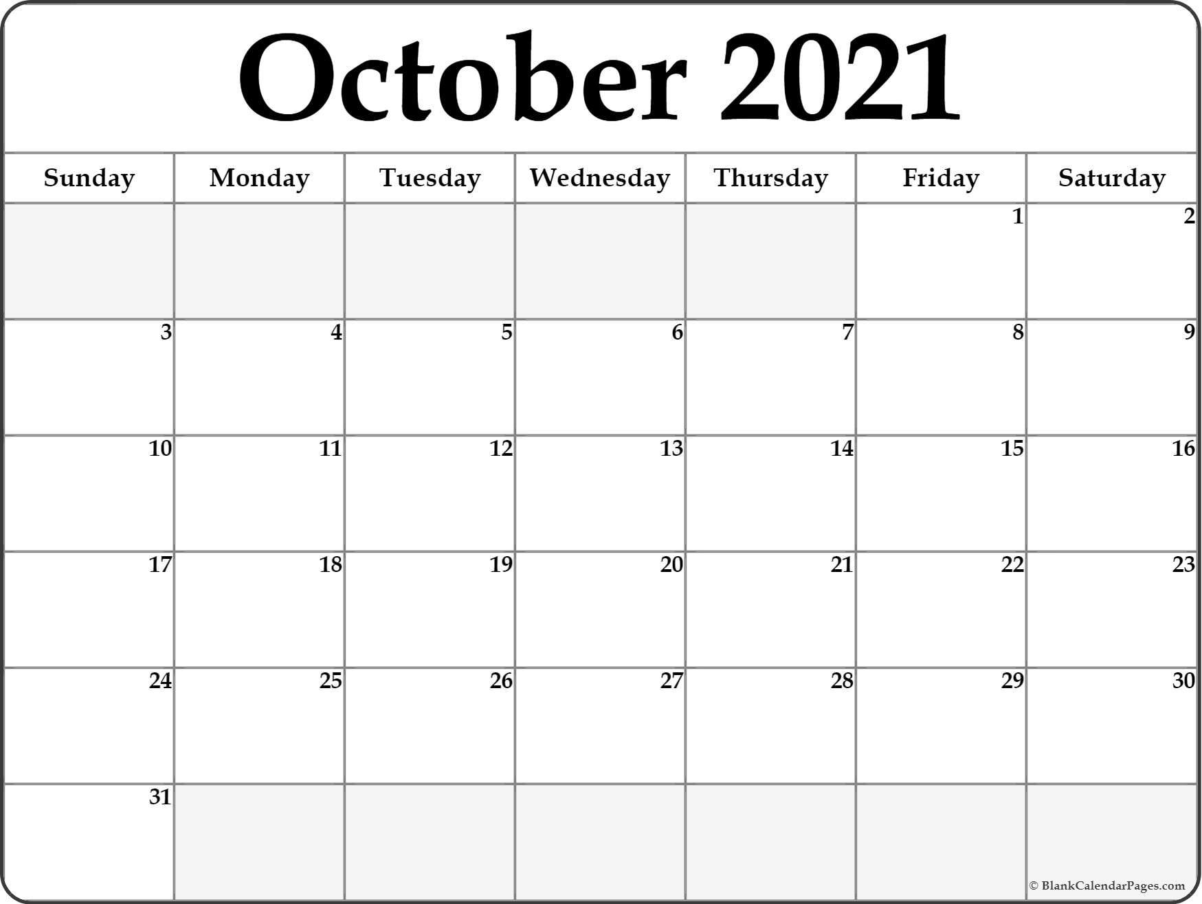 2021 Printable Calendar From October Thru December inside August 2021 Fill In Calendar