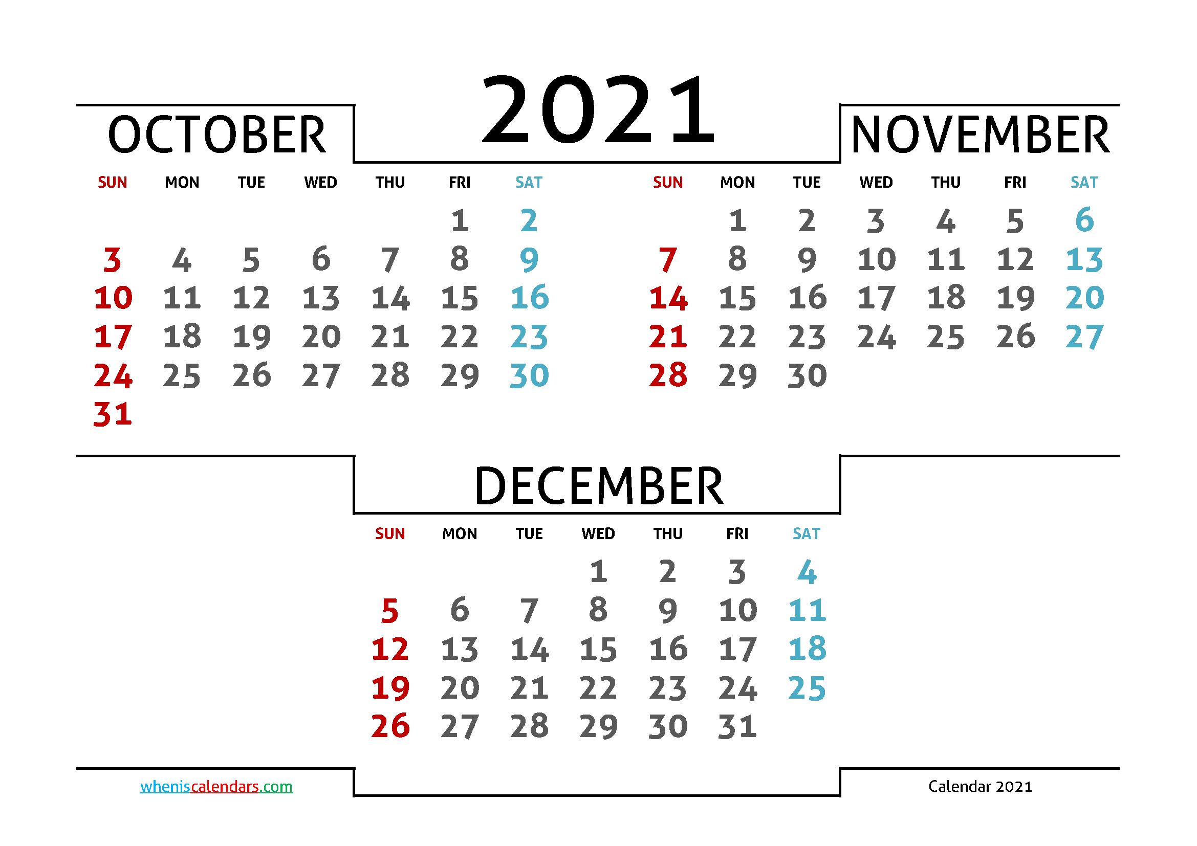 2021 Printable Calendar From October Thru December with regard to Calendar 2021 October Fill In