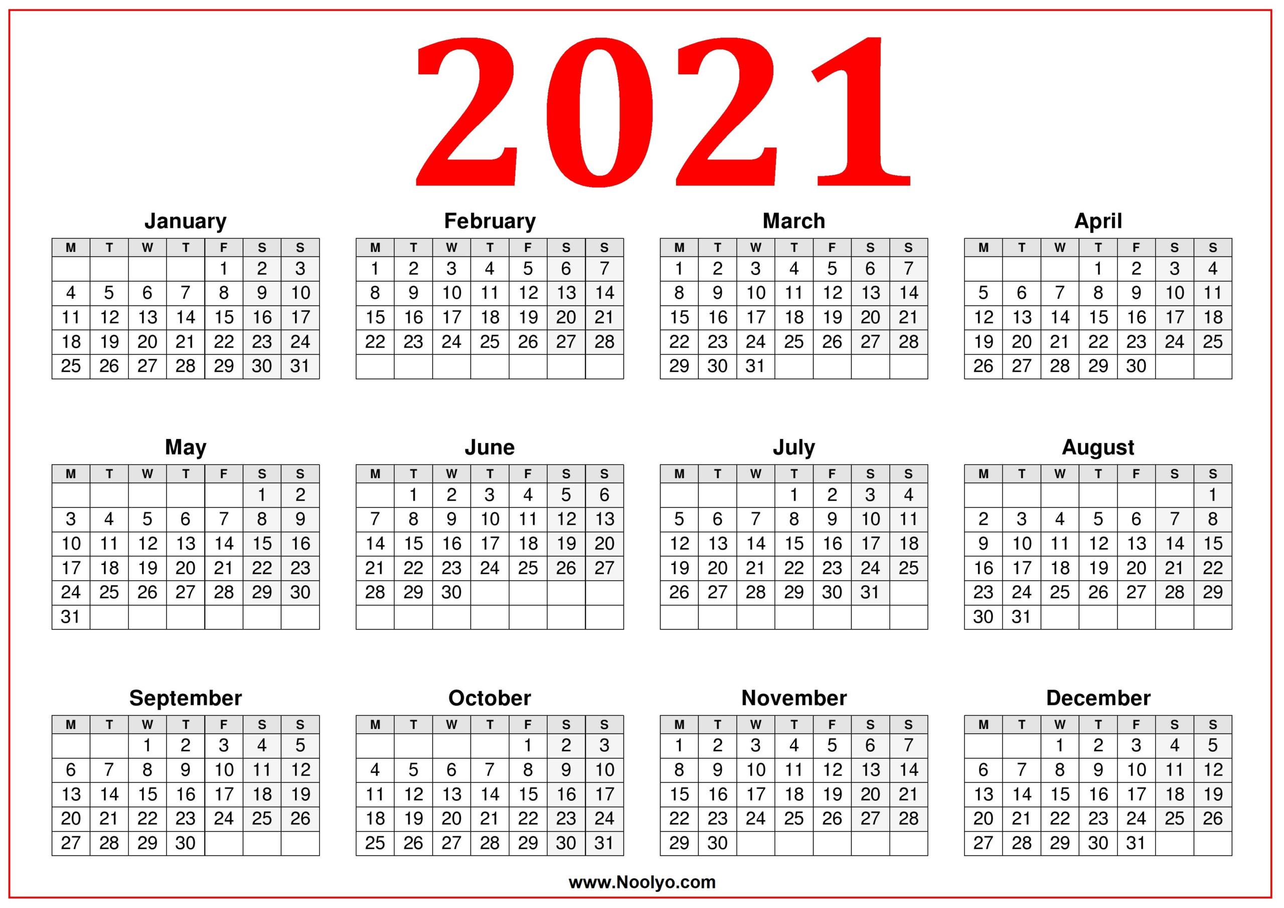 2021 Printable Calendar Monday | Free 2021 Printable Calendars for Free Fillable Calendar 2021