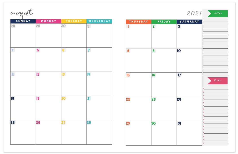 2021 Printable Calendar Two Page | Free Printable Calendar with Free Fillable Calendar 2021