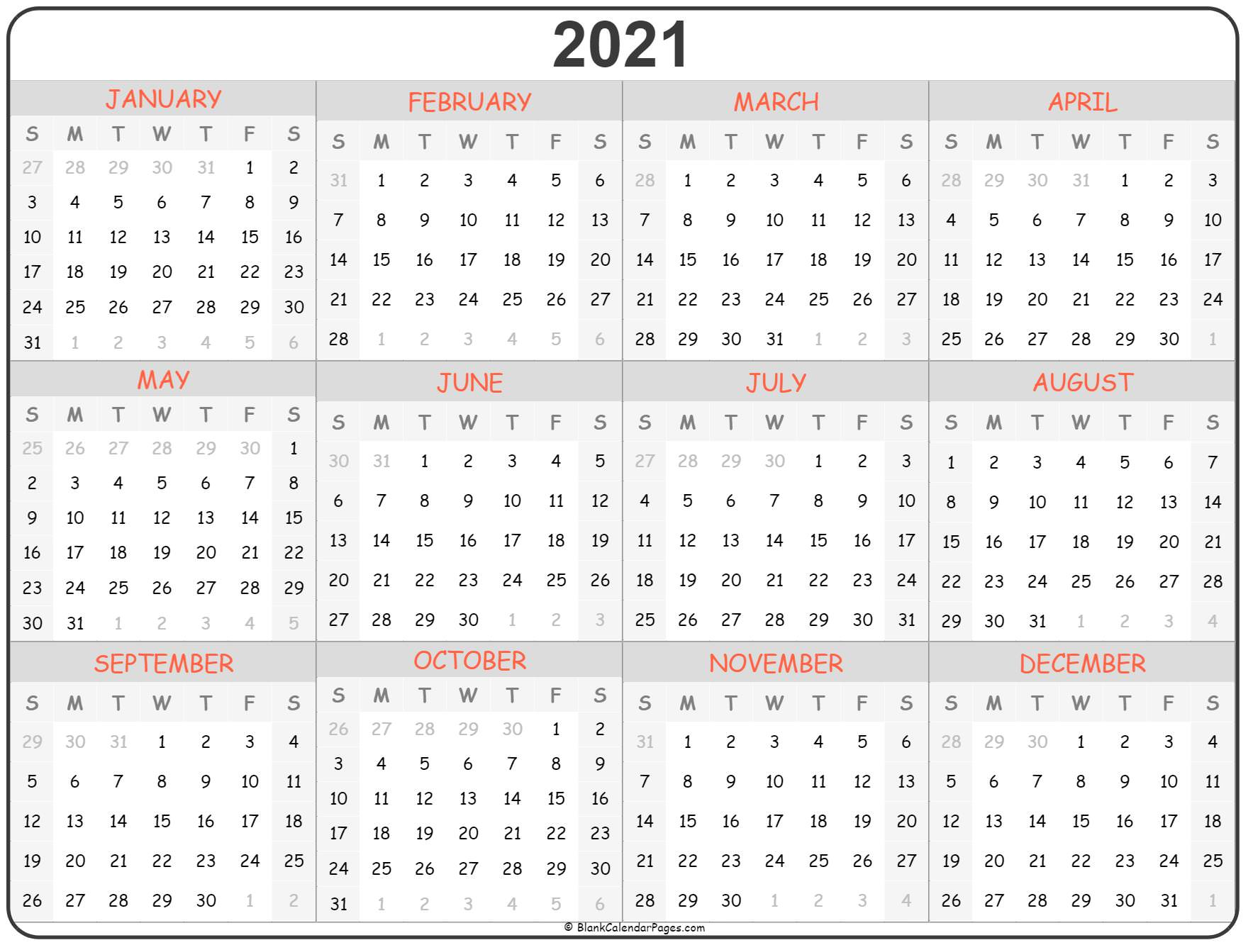2021 Year Calendar   Yearly Printable throughout All Year Calendar