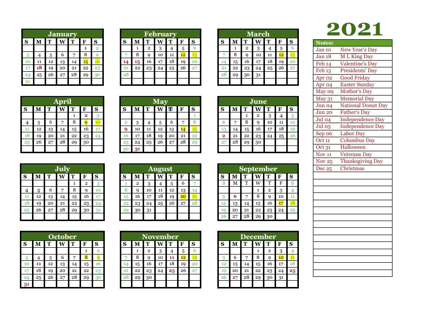 2021 Yearly Calendar Printable   Calendar 2021 with regard to 2021 Pocket Planner: Yearly Calendar