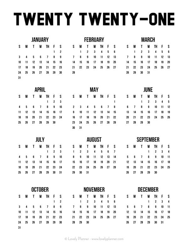 24 Pretty (& Free) Printable One Page Calendars For 2021 with 2021 Pocket Planner: Yearly Calendar