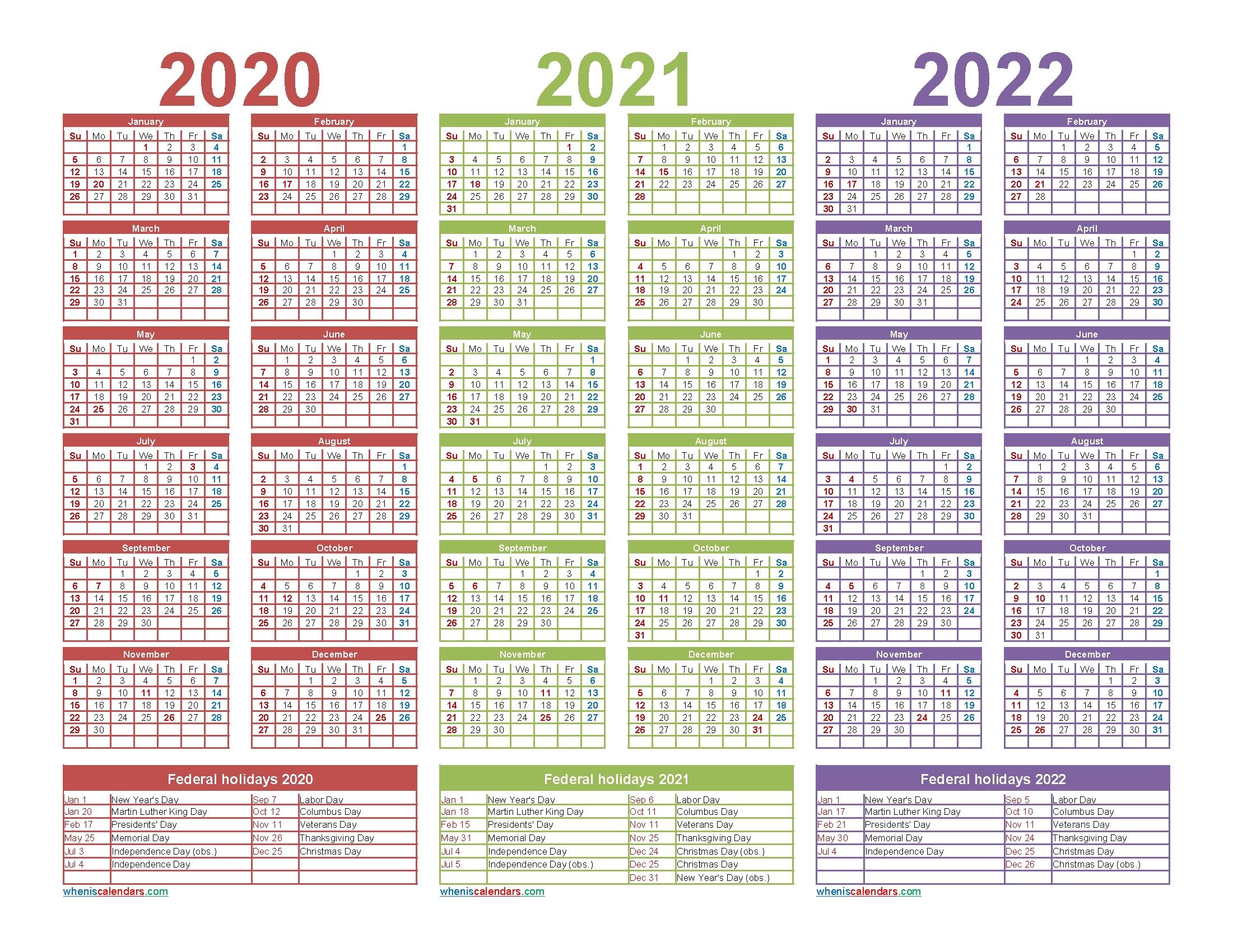 4 Year Calendar 2020 To 2022 | Month Calendar Printable inside 2021-2022 Three 3 Year Planner