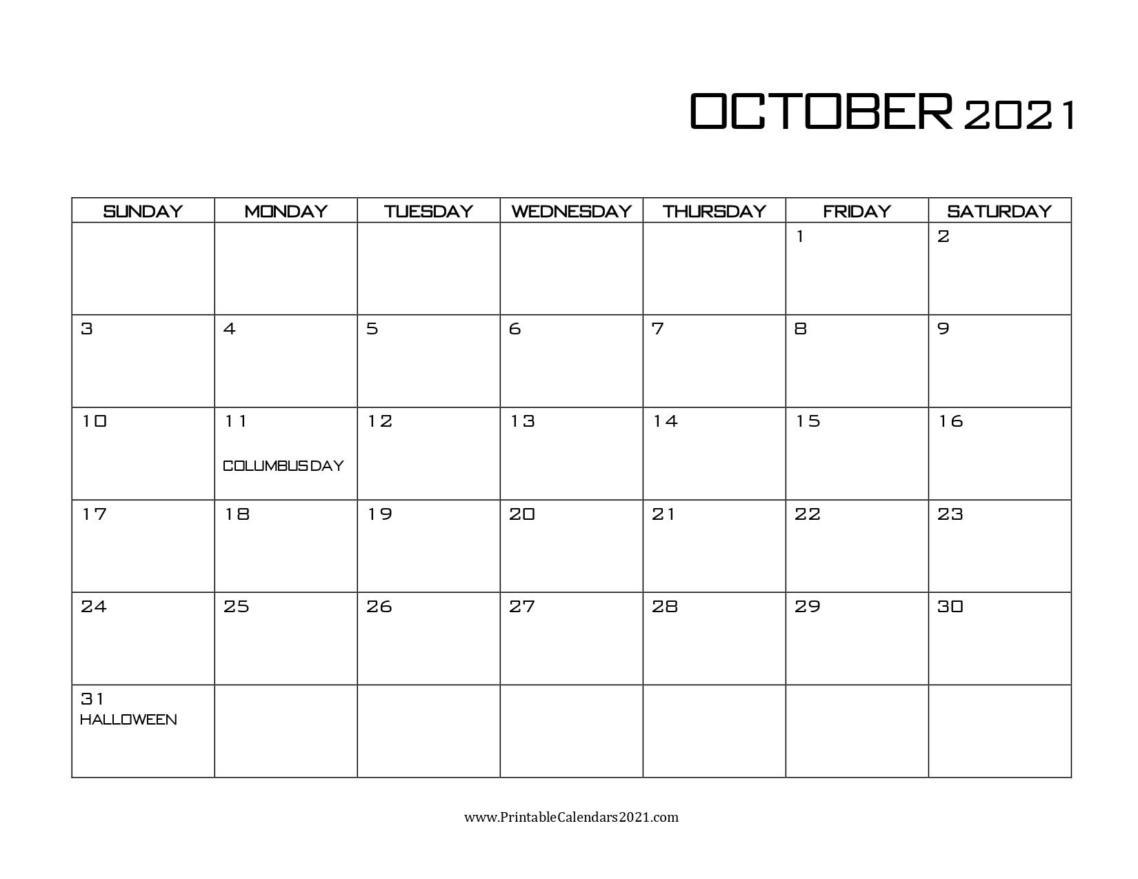 42+ October 2021 Calendar Printable, October 2021 Calendar with regard to Calendar 2021 October Fill In
