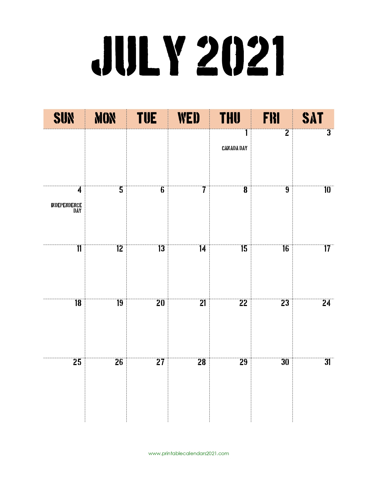 45+ July 2021 Calendar Printable, July 2021 Calendar Pdf in Print Free July 2021 Calendar Without Downloading